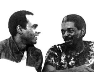 Chairman Omali with Huey Newton at the Oakland Uhuru House